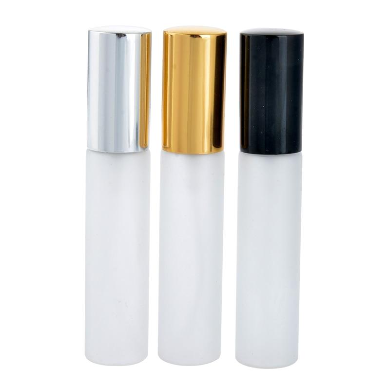10ML Portable Frosting Glass Refillable Perfume Bottle with Aluminum Atomizer Empty Parfum Case Wholesale 100pcs lot