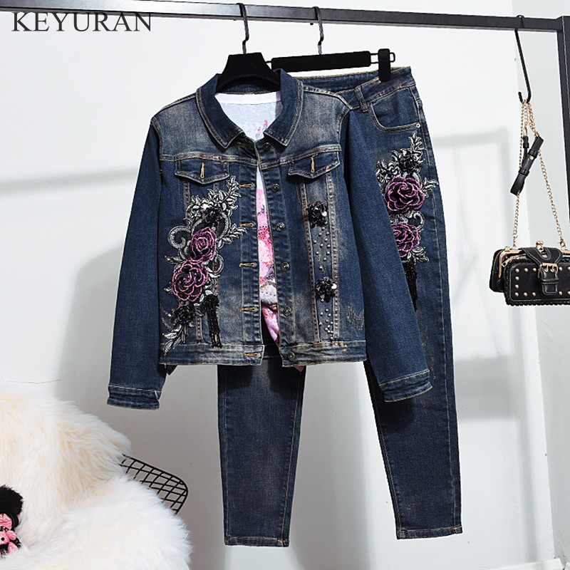 2019 Autumn Winter New Woman Long-sleeved Denim Jackets Floral Embroidered Coat + Pencel Jeans Slim Pants Two Piece Set L2948