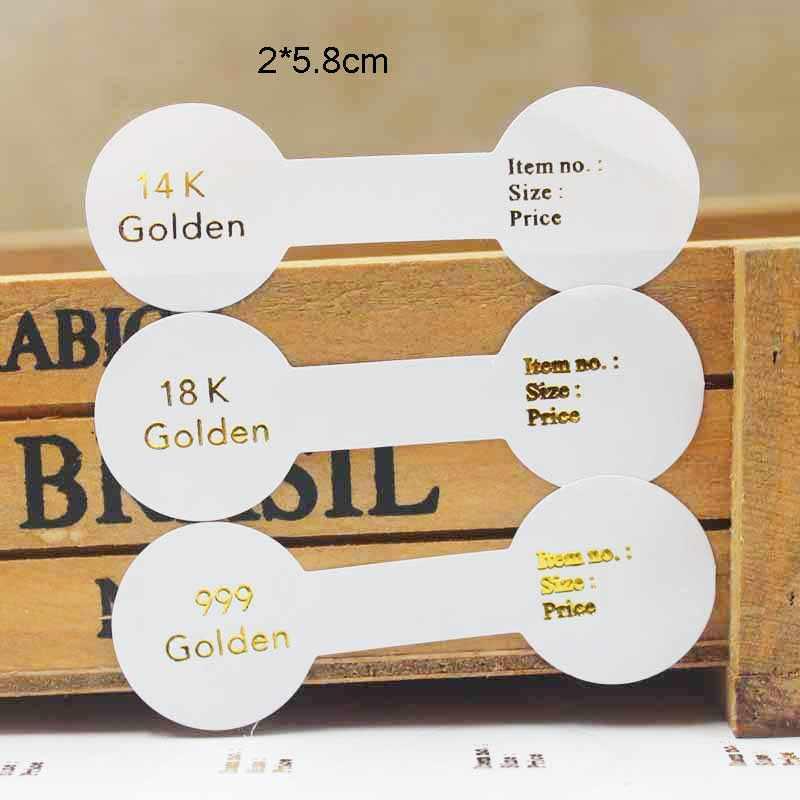 100 Uds. Anillo multi estilo etiquetas plegadas Blanco/kraft hecho a mano con anillo de amor precio etiquetas joyería etiqueta 6*1,2 cm