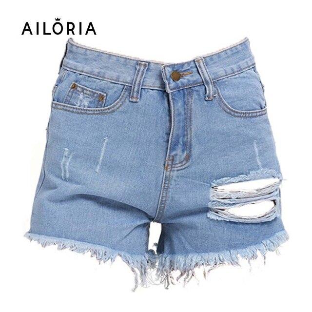 Ailoria Summer Short Jeans Plus Size 2016 Women High Waist Denim Shorts Frayed Hole Female Super Cool Flash Short Pantalon Femme