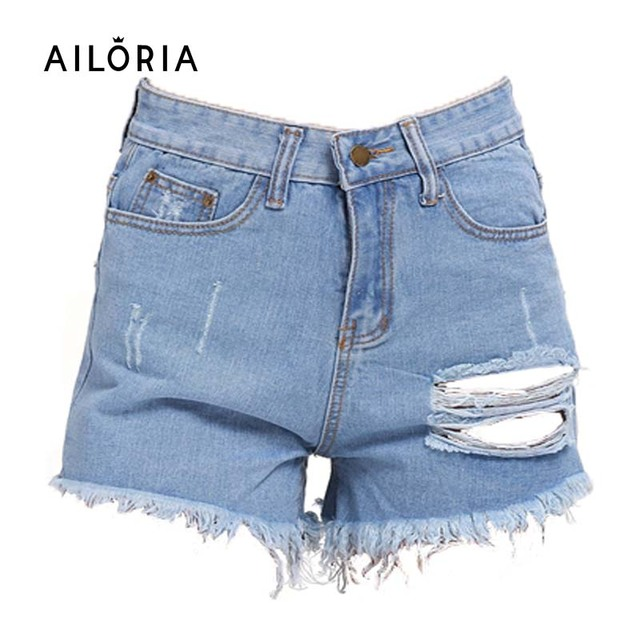 Ailoria Verão Short Jeans Plus Size 2016 Das Mulheres de Cintura Alta Shorts jeans Desgastados Buraco Fêmea Super Cool Flash Curto Pantalon Femme