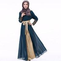 2019 Dubai Kaftan Dress Muslim Party Abaya Women Arabic Lace Chiffon Patchwork Belt Turkey Islam Prayer Caftan Marocain Dresses