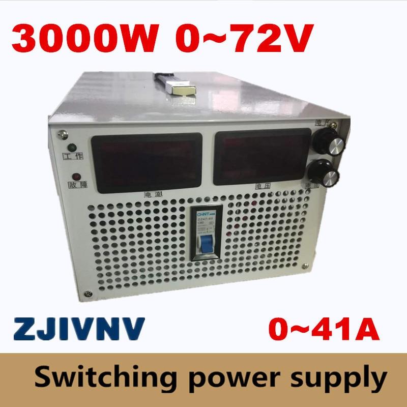 3000 W 0-72 v 0-41A courant et tension à la fois alimentation à découpage réglable 220 v AC-DC 72 v pour l'industrie a mené l'alimentation de laboratoire