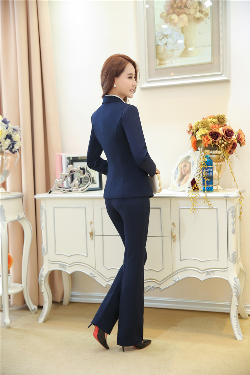 Spring Fall Formal Ladies Dark blue Blazer Women Business Suits with Pant and Jacket Set Elegant Pantsuits OL Style