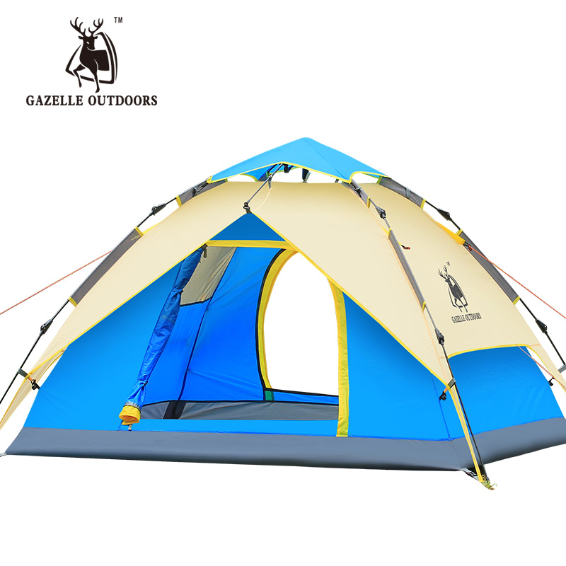 GAZELLE 3IN 1 Uses Waterproof Camping Tent Hydraulic Automatic Double Layer Aluminum Rod Tent Camping Family Hiking Picnic Tents outdoor camping hiking automatic camping tent 4person double layer family tent sun shelter gazebo beach tent awning tourist tent