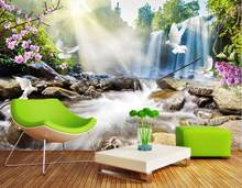 Kustom mural 3d Waterfall landscape 3d wallpaper kamar tidur ruang tamu wallpaper TV latar belakang 3d foto wallpaper(China)