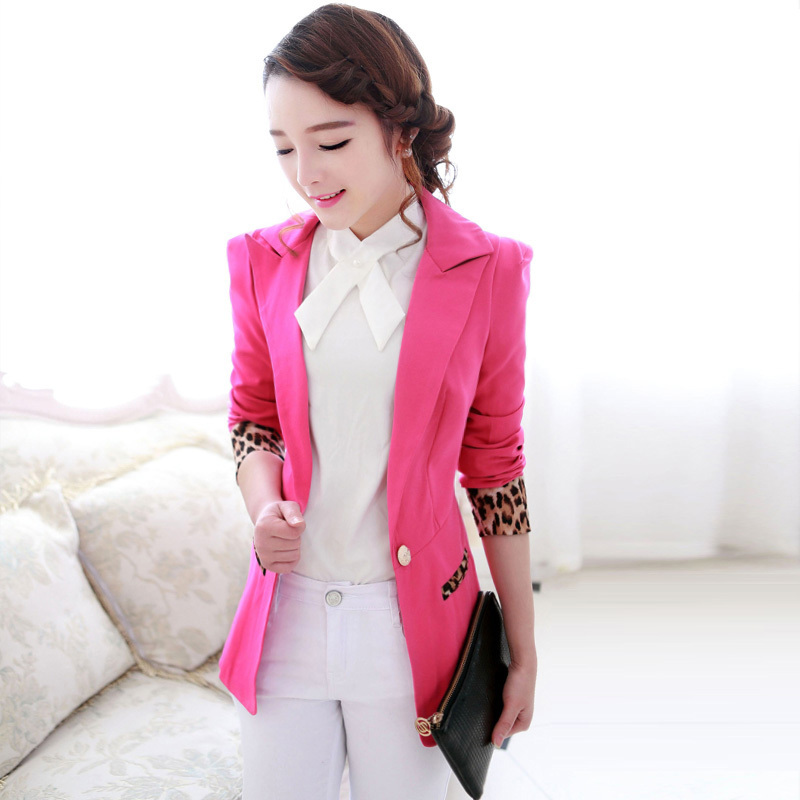 Women Single Button Blazer Short Design Cotton Long Sleeve Slim Blazer Color Block Patchwork Women Blazers
