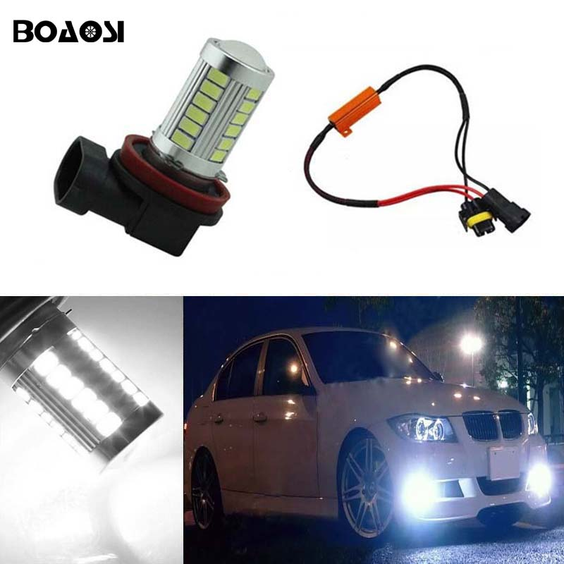 BOAOSI 1x H11 LED Bulbs For Fog Lights No Error For BMW 3/5-Series 328i 335i E39 525 530 535 E46 E61 E90 E92 E93 F10 X3 F25 boaosi 1x h11 led canbus 5630 33 smd bulbs reflector mirror design for fog lights no error for audi a3 a4 a5 s5 a6 q5 q7 tt