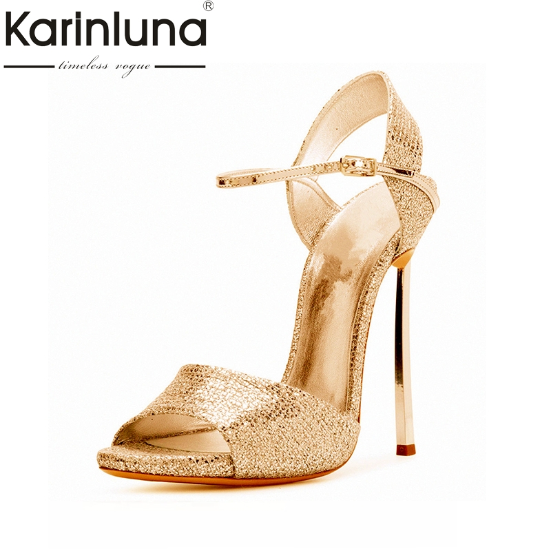 Karinluna Top Quliaty Large Size 33-43 Brand Shoes Women Super High Heels Party Wedding Shoes Sandals Sexy Summer Footwear Women цена