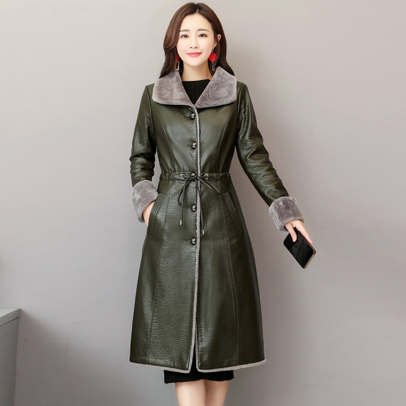 High Quality 2019 Winter Women Slim Washed PU   Leather   Long Jacket Fashion Women   Leather   Coat Turn Down Collar Motorcycle Outwear