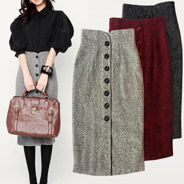 0f62a6904 2015 otoño y el invierno altos bolsillos de cadera faldas largas elegantes  faldas mujer saia longa