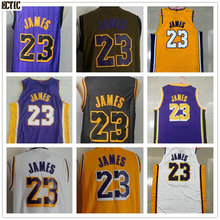 ECTIC 2018 Lebron 23 James Basketball Jersey 100% Stitched color white  yellow blue 919186b14