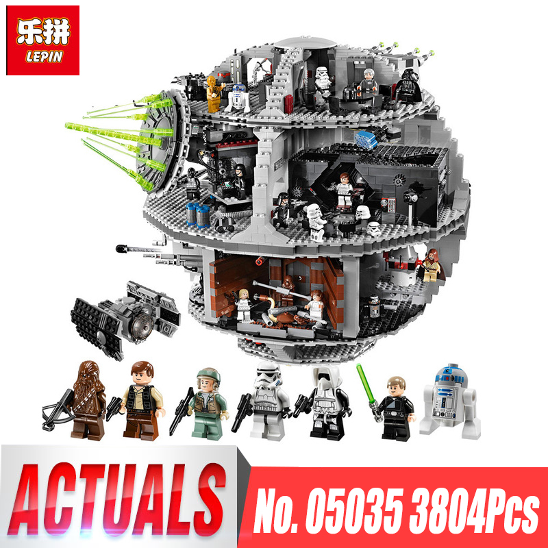 LEPIN 05035 3804pcs Death Star Building Wars Block Self-Locking Bricks Toys Kits legoing 10188 Educational Toy for Children Gift lepin 05037 star wars ucs slave i slave no 1 model 2067pcs minifigure building block toys 100