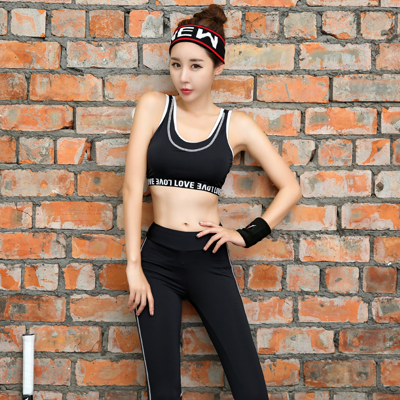 New Women Yoga Set Breathable Letter Patter Gym Clothing Black Round Neck Shrits+Sport Bra+Pants+Shorts 4 Pcs Sport Suit Fitness - 5