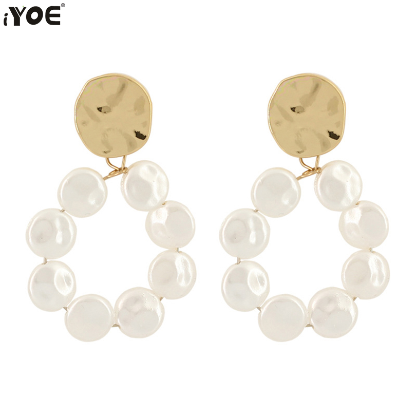 IYOE Korean Fashion Drop Earrings For Women Girls Concise Big Round Circle Simulated Pearl Dangle Earring Wedding Party Jewelry