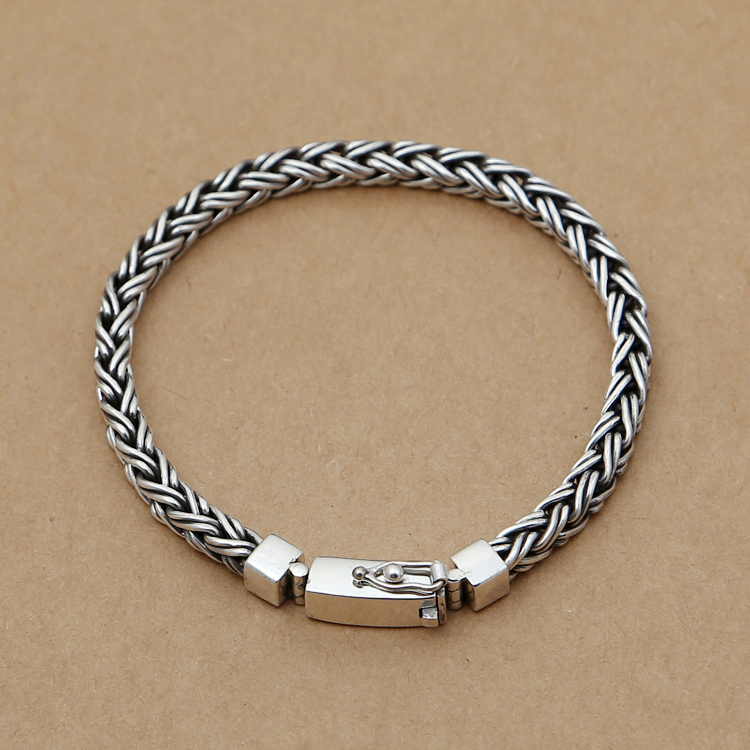 Handcrafted 925 Siilver Chain Bracelet Vintage Sterling Silver Bracelet Real Pure Silver Good Luck Bracelet 9mm handmade thailand 925 siilver bracelet vintage sterling silver chain bracelet pure silver man bracelet