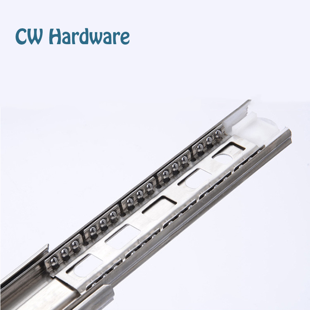 14 inch 350mm Stainless Steel Drawer Groove Slides, 2pcs Bathroom Drawer Pull Slides, Keyboard Tray Three Rail 401