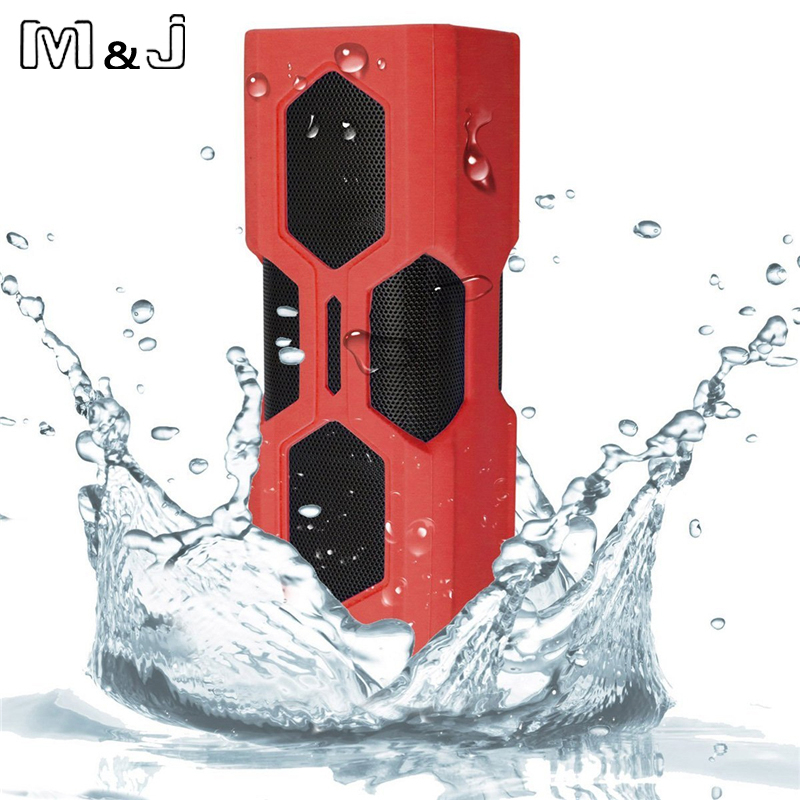m&j nfc portable waterproof wireless bluetooth speaker with built in battery power bank for phone and pc