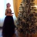Elegante Longo Preto de Tule Saia Tutu Saias Para As Mulheres Para A Festa Formal Outono Inverno Puffy Custom Made 2017 Maxi Saia