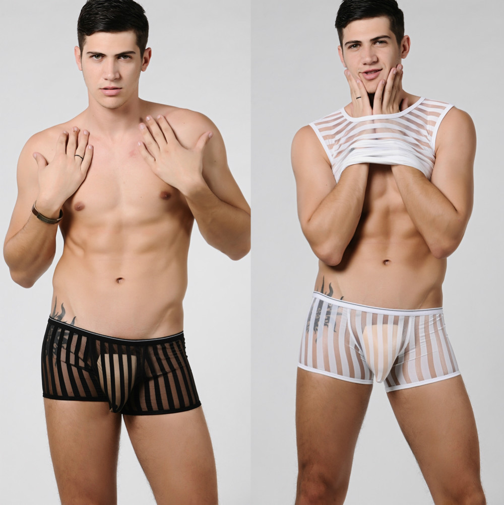 New Men's Underwear man Sexy seethrough Mesh Stripe Fashion Boxer ...