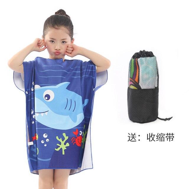 Новое поступление, Лидер продаж, летнее портативное пляжное банное полотенце из микрофибры с мультяшным рисунком, купальное полотенце с крышкой, быстросохнущая Мочалка для детей, 83*60 см - Цвет: 1