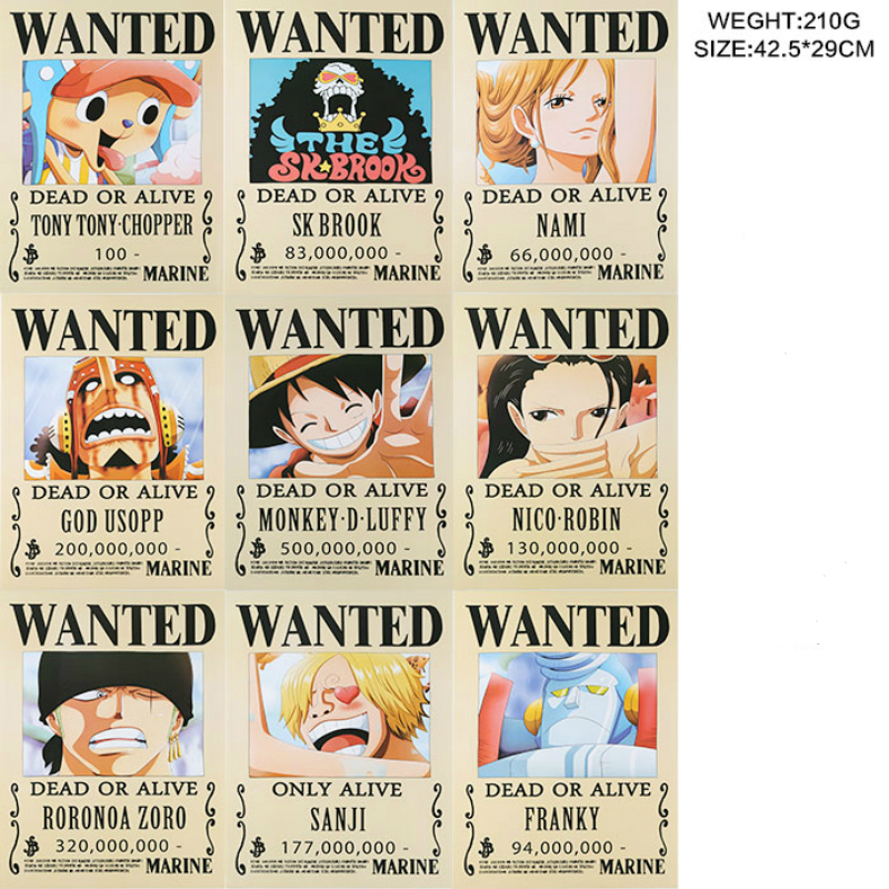 Us 7 8 20 Off 9 Pcs Lot One Piece Wanted Posters Newest Anime Poster Size 42x29 Cm Onepiece Toys Monkey D Luffy Roronoa Zoro Bounty Wx267 In Action