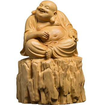 Wooden Laughing Buddha Statues for decoration Eastern crafts China Fengshui Maitreya carving Miniature home decor holy statue