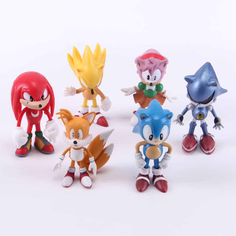 6 pçs/lote Sonic the Hedgehog PVC Action Figure Toy Model Collection