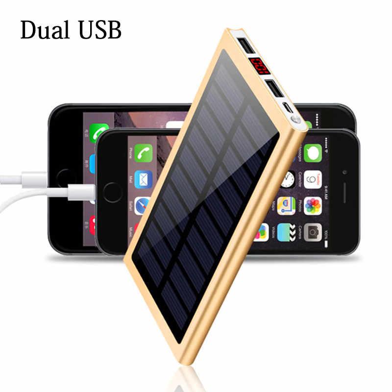 الشمسية 30000mah قوة البنك بطارية خارجية 2 USB LED تجدد Powerbank المحمولة الهاتف المحمول الشمسية شاحن هواتف xiaomi mi iphone XS 8 زائد