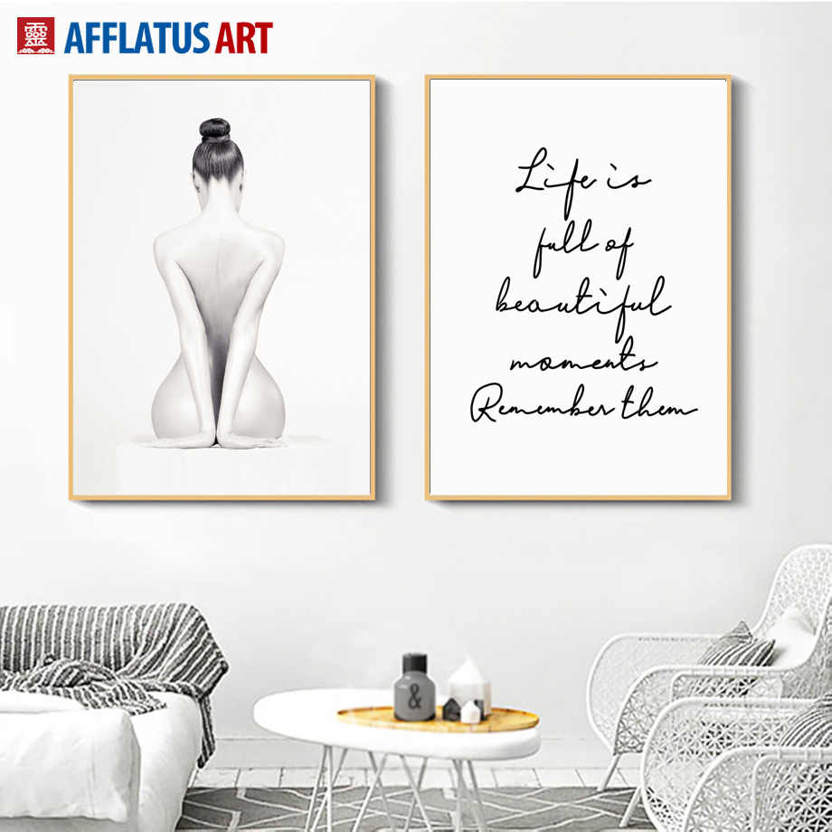 Sexy Nude Girl Life Quotes Wall Art Canvas Painting Body Art Nordic Posters And Prints Wall Pictures For Living Room Home Decor Aliexpress