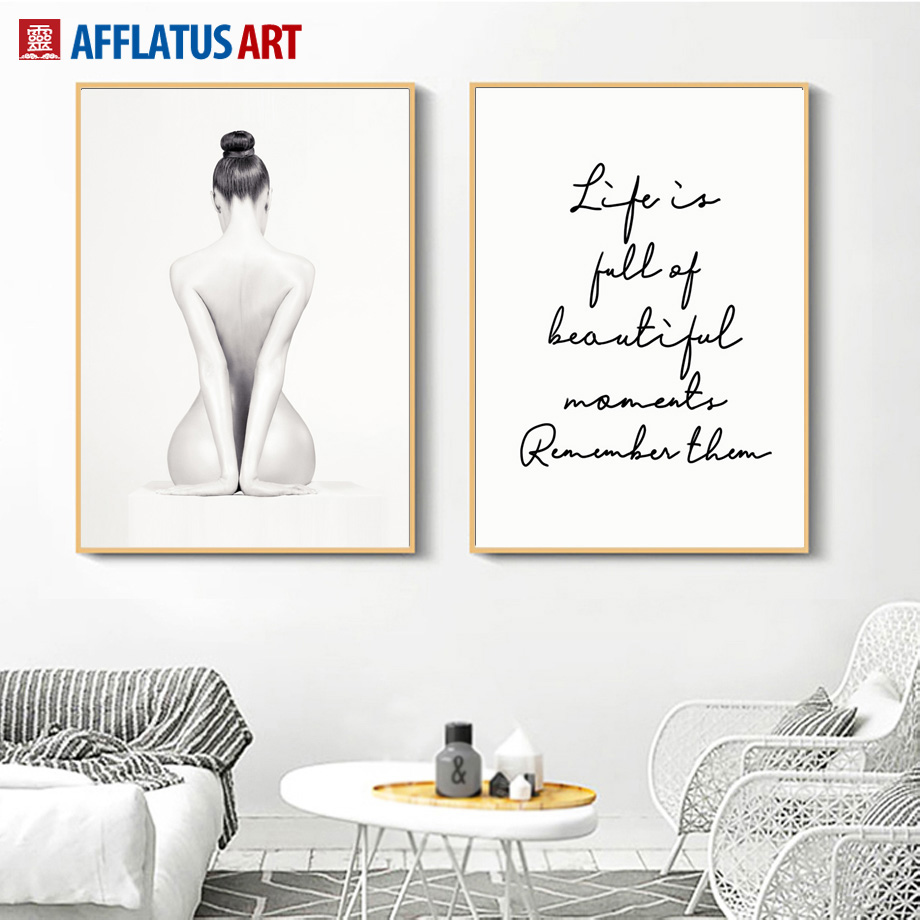 Sexy Nude Girl Life Quotes Wall Art Canvas Painting Body Art Nordic Posters And Prints Wall Pictures For Living Room Home Decor Painting Calligraphy Aliexpress