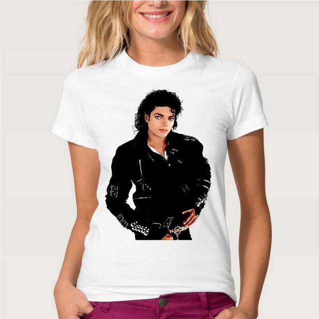 2016 nueva moda de verano te acuerdas de Michael Jackson Camiseta las mujeres 100% de Algodón de Manga Corta T-Shirt de Impresión de Película Superior O Cuello Tee
