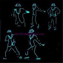 Großhandel 5 teile/satz Led Leuchtende Blinkende Wachsen Licht Roboteranzug EL Draht Kostüm, Kappe, Handschuhe, Und Schuhe MJ Stil Für Zeigen, Club