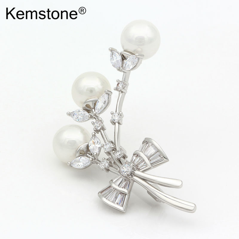 Kemstone Silver Plated Simulated Pearl Crystal Brooch Pin Women Jewelry  HjdbOYTYZK