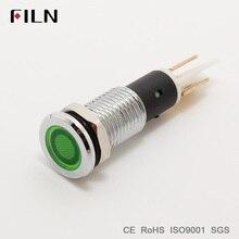 FILN металлическая сигнальная лампа индикатор сигнала 10 мм красный желтый синий зеленый белый 12 В 24 в 110 В светодиодный свет