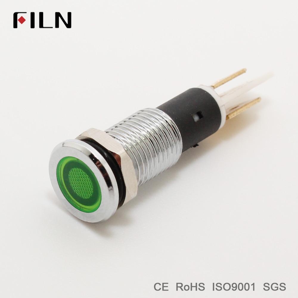 FILN Metal Pilot Lamp Indicator Signal 10mm Red Yellow Blue Green White 12v 24v 110v Led Light