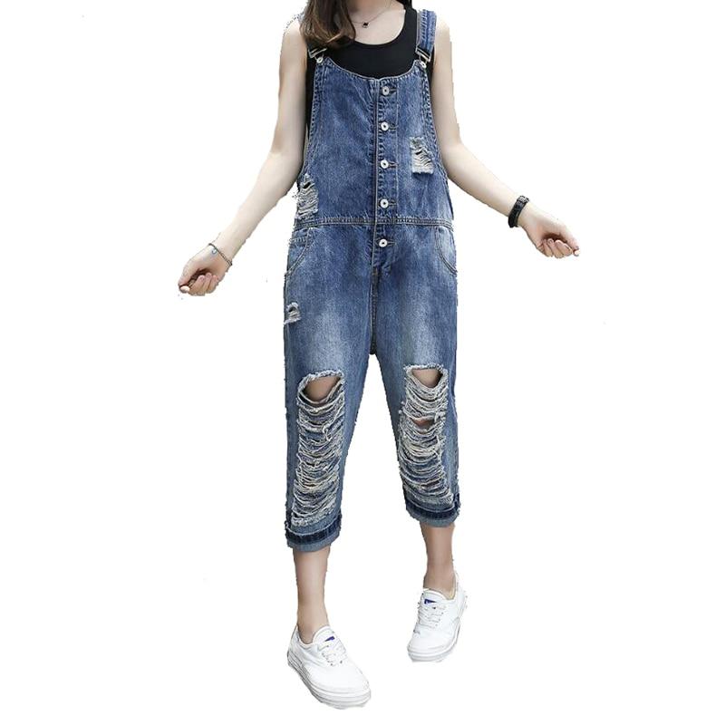 Loose Women Jean Jumpsuits Summer New Thin Hole Hip Hop Jumpsuit For Women 2017 Fashion Female Jeans Pants Overalls new hip hop pants summer fashion mens loose jean overalls casual bib jeans for men male denim jumpsuit size 28 42