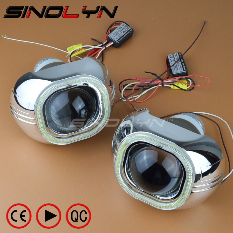 Car Styling Headlight Lens Bi Xenon With COB LED DRL Angel Eyes Q5 HID Car Projector Square Headlamp Lenses Use D2S D2H Bulbs