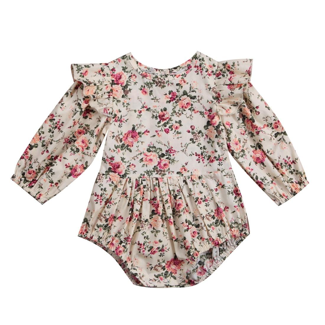 Flower Infant Toddler Baby Girl Romper Vintage Long Sleeve Neborn Girl Romper Jumpsuit Spring Autumn Baby Girl Clothing D15