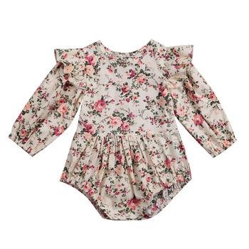 Kwiat niemowlę maluch dziecko śpioszki dziewczęce Vintage z długim rękawem Neborn śpioszki dziewczęce kombinezon wiosna jesień ubranie dla dziewczynki D15 tanie i dobre opinie Biayxms COTTON Poliester Floral Dziecko dziewczyny Przycisk zadaszone Cotton Blend Pajacyki Pełna O-neck Pasuje prawda na wymiar weź swój normalny rozmiar