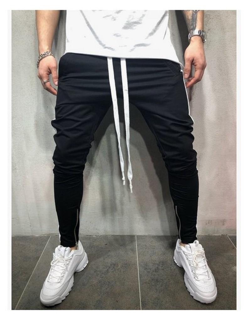 ZOGAA новые мужские спортивные штаны в стиле хип-хоп для фитнеса, бегунов, весенние мужские полосатые длинные штаны в стиле хип-хоп, штаны-шаровары, спортивные штаны - Цвет: black White