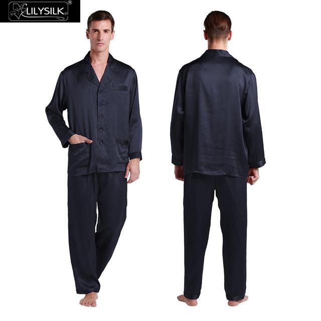 Mens Pijama De Seda Conjunto de Cetim Chinês 22 Momme Lilysilk Puro Pijama Homme Camisa Marca Masculina de Luxo de Dormir De Manga Longa Sleepwear
