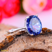 KJJEAXCMY fine jewelry 925 silver inlaid with natural tanzanite lady's ring jewelry.