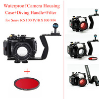 Meikon 40m/130ft Underwater Camera Housing Case for Sony RX100 IV,Waterproof Camera Bags Case + 67mm Red Filter + Diving Handle