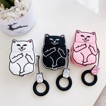 3D Earphone Case For Airpods 2 Case Silicone Cat Cartoon Cute Headphone Cover For Apple Air Pods Cases For Earpods Accessories 1
