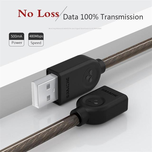 SAMZHE USB 2.0 Extension Cable Data Male to Female Cable Extender for Phone Charging Computer USB Extending