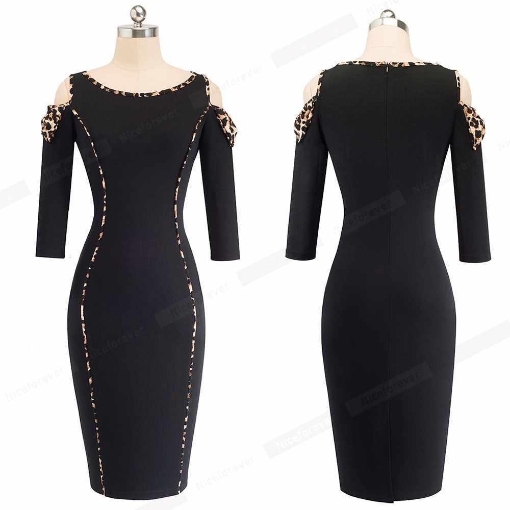 Сексуальное облегающее черное платье с открытыми плечами и леопардовым принтом, Клубное платье для ночного клуба, повседневное офисное женское платье-карандаш HB483