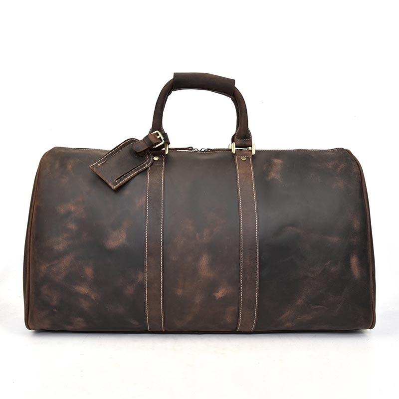 MAHEU мужская дорожная сумка из натуральной кожи, большая дорожная сумка на выходные, мужская сумка из коровьей кожи, сумка для путешествий, ру... - 4
