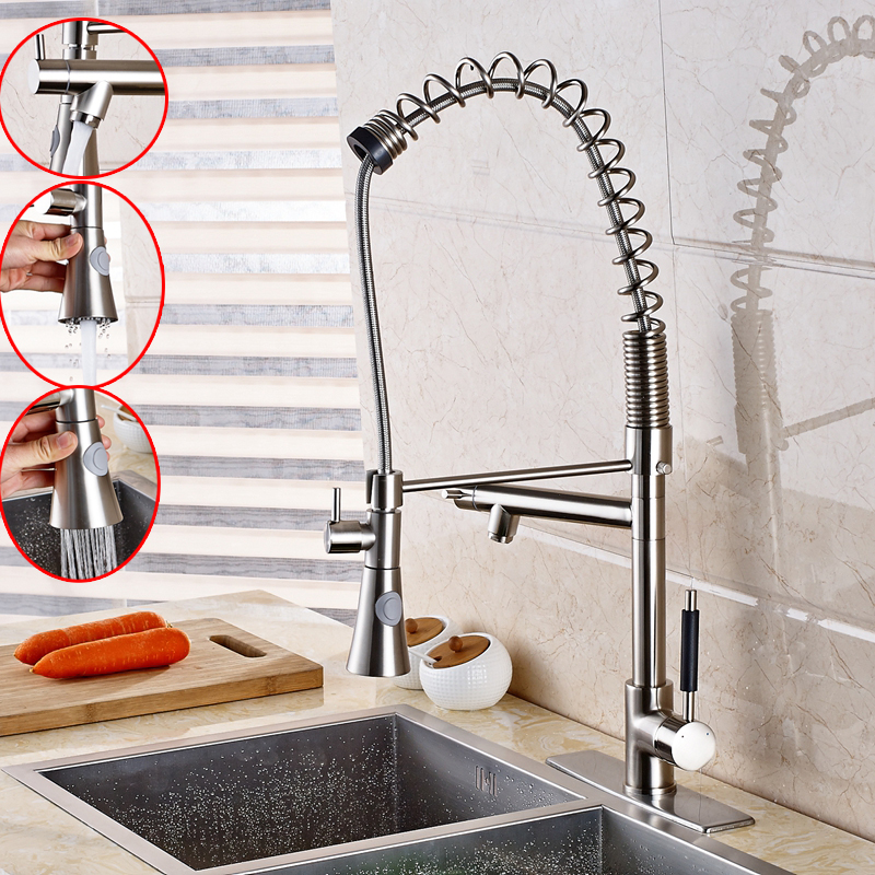 Tall Pull Down Swivel Spout Kitchen Faucet Deck Mount Hot Cold Mixer+Cover Plate tall tales