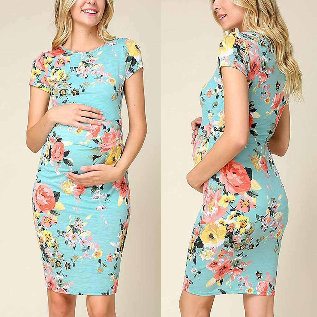 Maternity Dresses Casual Womens Maternity Short Sleeve O-neck Floral Print Dress Pregnancy Clothes Dresses For Pregnant WomanMaternity Dresses Casual Womens Maternity Short Sleeve O-neck Floral Print Dress Pregnancy Clothes Dresses For Pregnant Woman